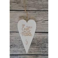 Herz Holz Herzholz Gravur Geschenk Weihnachten Muttertag Geburtstag Mama Bild 1