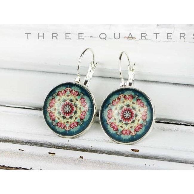 Ohrringe mit Ornament, Mantra, Spirituell, türkis, rot, bunt, rund, Kreis, Indien, Kraft, kraftvoll, Meditation, Schutz Bild 1