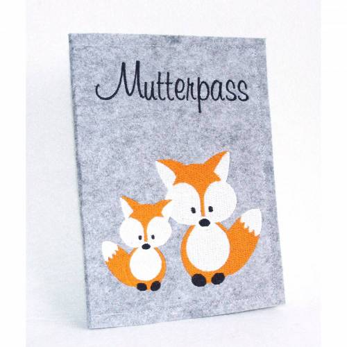 Familie Fuchs • Mutterpasshülle  • Filz graumeliert •  Filz • Umschlag Mutterpass • Mutterpass • Mutterpass Hülle • Mamapass •