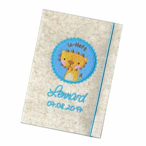 U Heft Hülle Löwe Lion Umschlag Filz hellmeliert für einen Junge