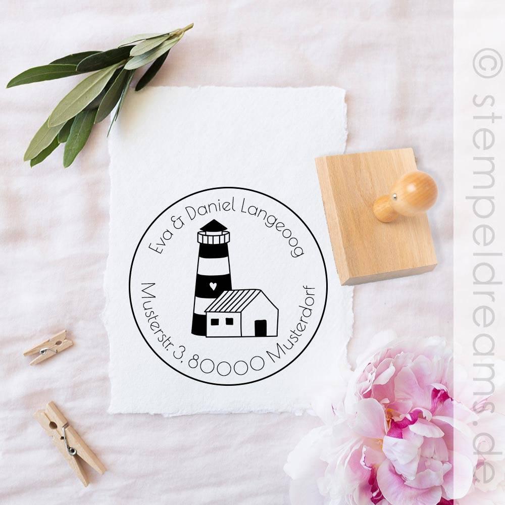 Adressstempel - Familienstempel - Hygge - Leuchtturm - personalisiert - runder Holzstempel - Motiv: 387a Bild 1