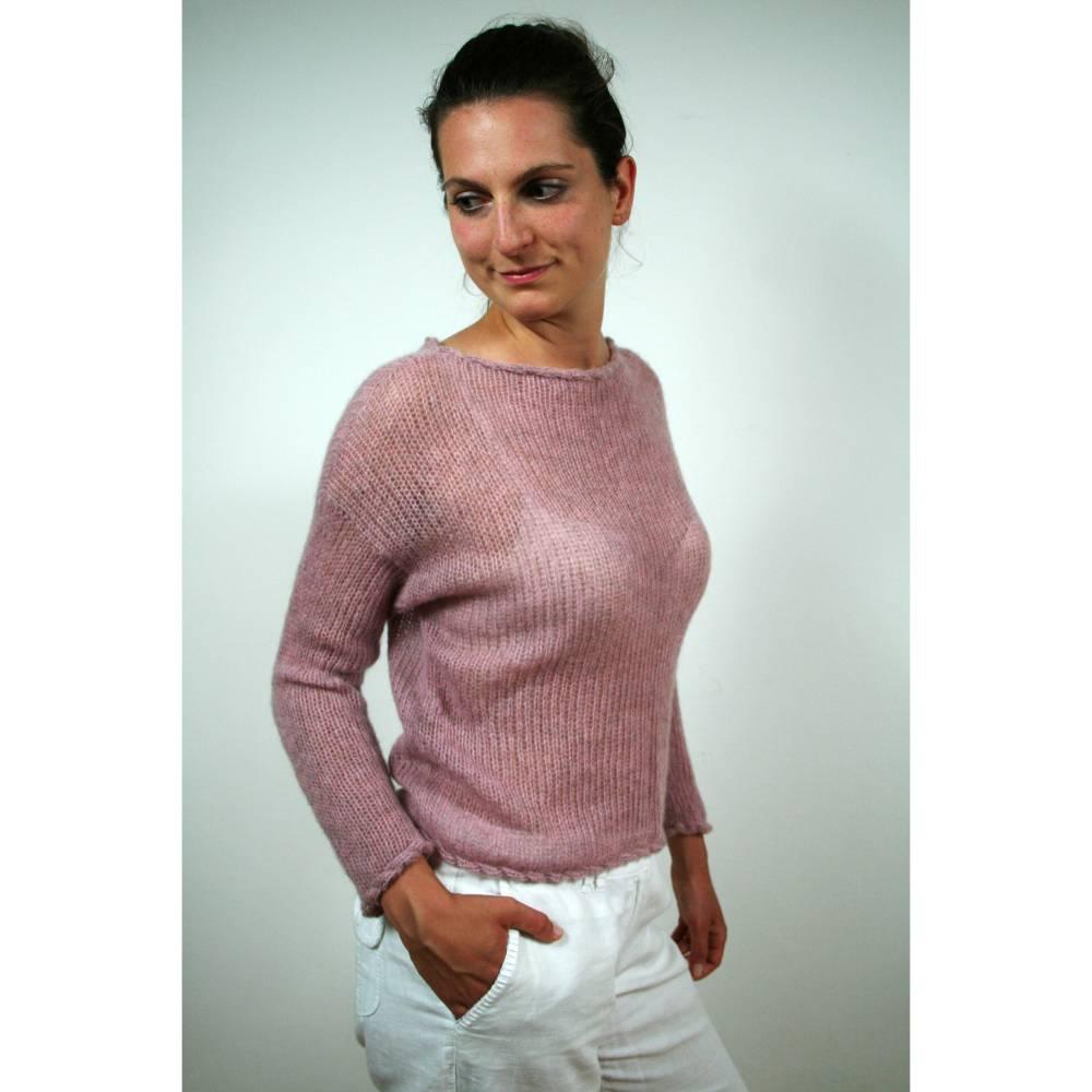 Handgefertigter Alpaka Pullover mit langen Ärmeln, Grobstrickpulli für Frauen, Rundhalspullover Bild 1