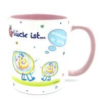 Geschenk-Idee für Freunde, Tasse mit Spruch, Glück ist miteinander zu lachen, Glückstasse rosa
