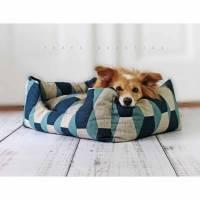 Hundebett, Katzenbett, Muster, dunkelblau, türkis, Natur, beige, geometrisch, Hund, Katze, Schlafplatz, blau, Haustier, gemütlich Bild 1