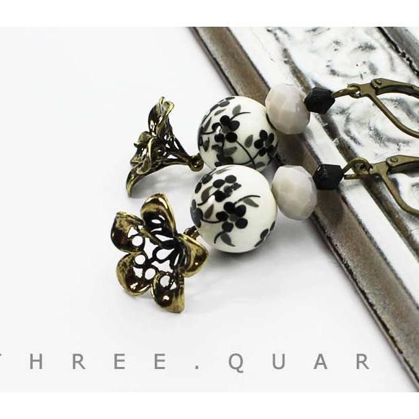 Ohrringe, Kirschblüten, schwarz, weiß, grau, antik, bronze, Blumen, Japan, Perlen, Blätter, Metall, Hochzeit, Geschenk, vintage Bild 1