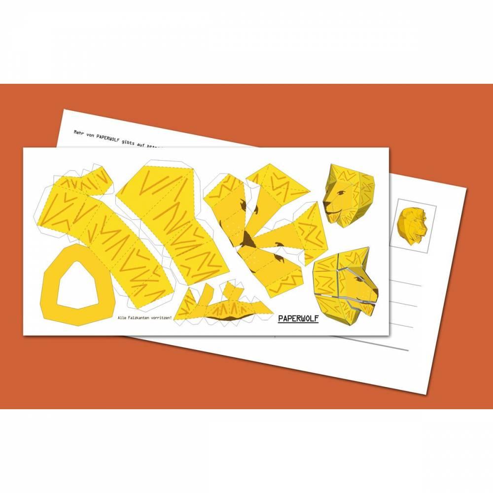 "Postkarte ""Mini-Löwe"" zum Selberbauen. Bastelbogen DIY 210x105mm Bild 1"