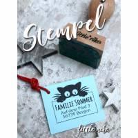 Stempel Adresse Katze personalisiert / Adressstempel / Namensstempel / Katzen-Motiv / Geschenk für Mädchen Bild 1