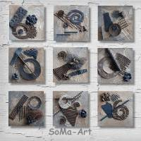 Mehrteiliges Acrylbilder auf MDF, **Nature 3D**, 9-teiliges Bilderset aus der Quadrato Serie, Modern, Wandbild, SoMa-Art Bild 1