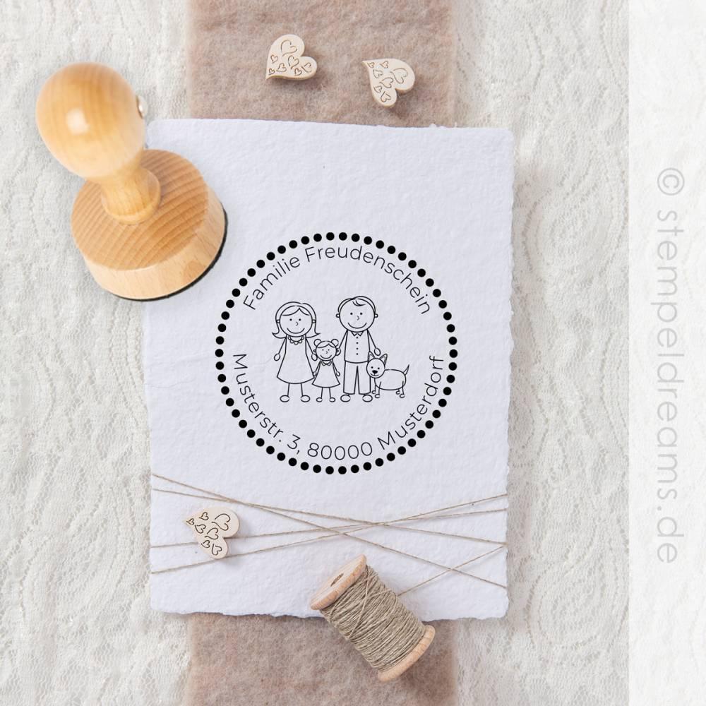 Personalisierter Familienstempel - Adressstempel für Familie - Hochwertiger Holzstempel - Figuren - Namen - Anschrift - Motiv: 331 Bild 1