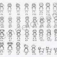 Personalisierter Familienstempel - Adressstempel für Familie - Hochwertiger Holzstempel - Figuren - Namen - Anschrift - Motiv: 331 Bild 2