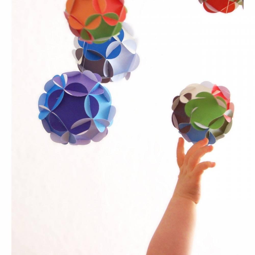 Baby Mobile, Wickeltisch Mobile, Kugelmobile, Papier Kugel Mobile, Dodekaeder aus Papier Bild 1