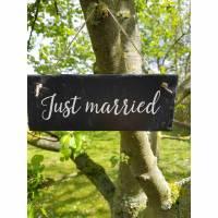 Just married für die Hochzeit oder Feier Schiefertafel Schild Schiefer Haustürschild Bild 1