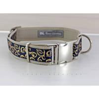 Hundehalsband, Hund, Halsband, Ornamente, gold, dunkelblau, beige, silber, Hunde, Welpe, edel, modern, elegant, Haustier, Welpe, 30mm Bild 1