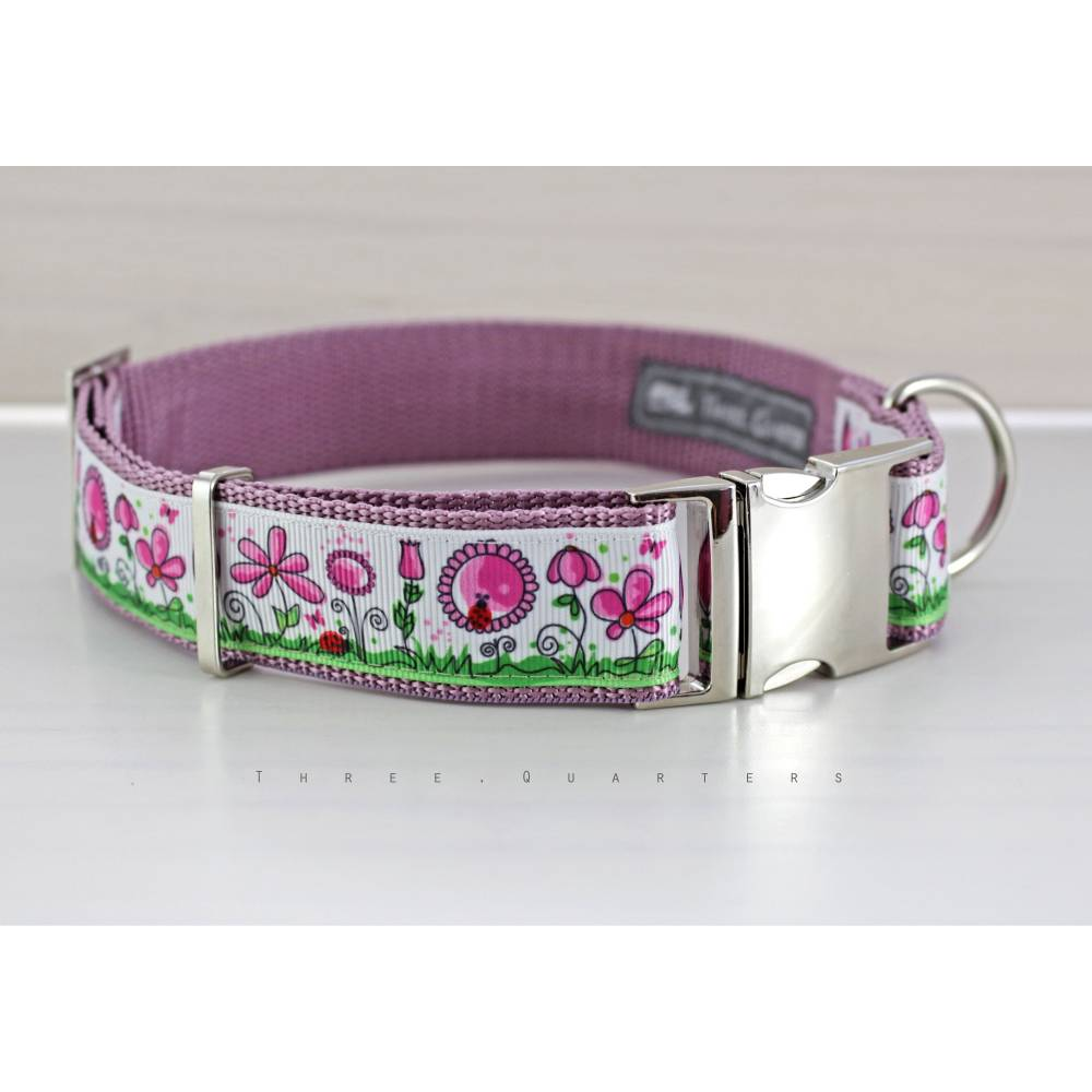 Hundehalsband, Hund, Halsband, Blumen, Marienkäfer, rosa, weiß, silber, Hunde, Welpe, altrosa, Schmetterlinge, modern, niedlich, grün Bild 1