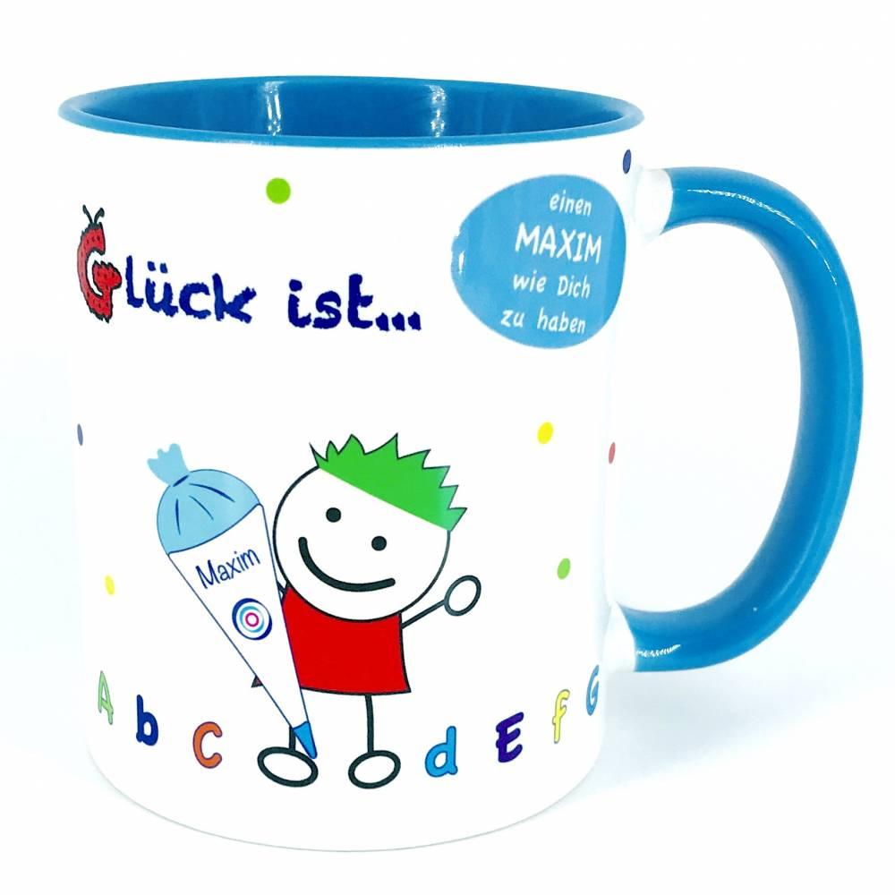 Geschenk zum Schulanfang, Einschulung Junge, Tasse mit Wunschname  Bild 1