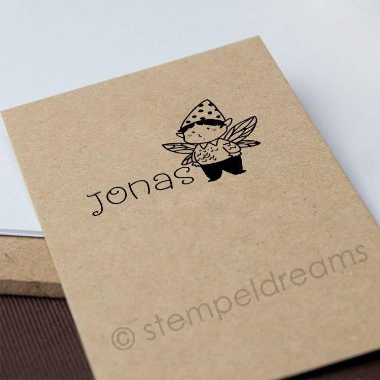 Kinderstempel mit Namen - Kleines Männchen - personalisiert -  aus Holz - 284b Bild 1