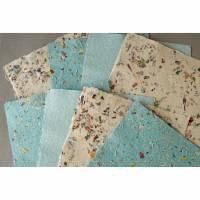 8 Blatt handgeschöpftes Papier, türkis, bunt, ca. 21 cm x 29 cm, Büttenpapier, Bastelpapier Bild 1