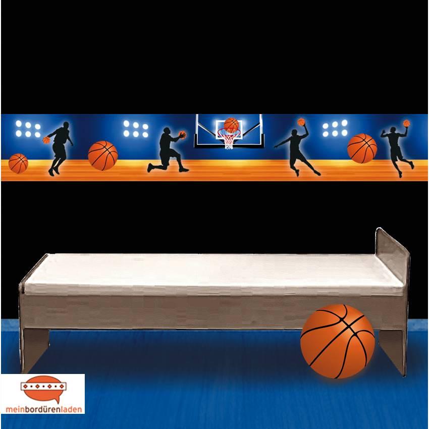 Vlies Bordüre: Basketball - optional selbstklebend - 18 cm Höhe Bild 1
