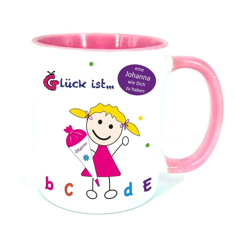 Einschulung Geschenk, personalisierte Geschenke Schulanfang, Becher mit Namen, rosa Tasse Bild 1