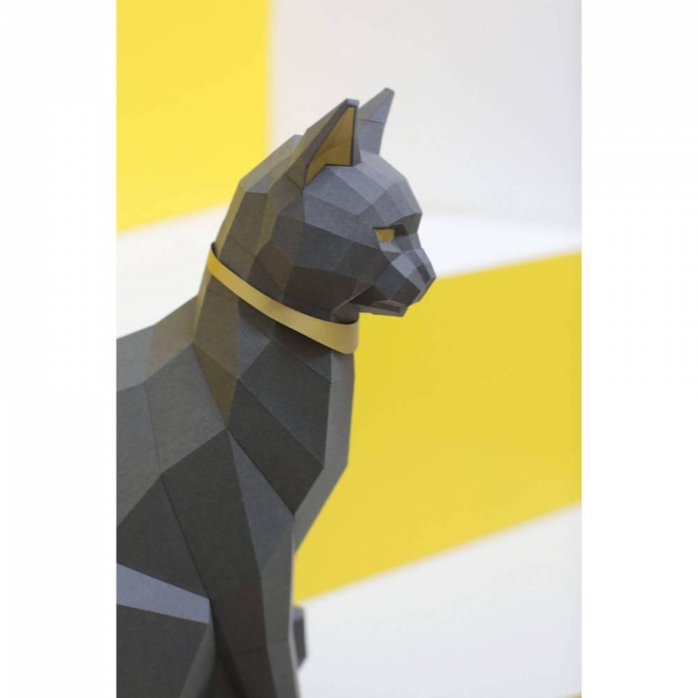 """Schwarze Katze Bastelbogen. PREMIUM mit Gold-Applikationen. Ägyptische Katzengöttin """"Bastet"""" Bild 1"""