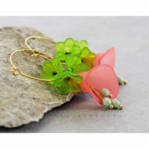 Ohrringe, hellgrün, rot, Blüten, vintage, Hochzeit, romantisch, stylisch, Karibik, antik, Urlaub, lindgrün, Schmuck, edel, elegant, boho