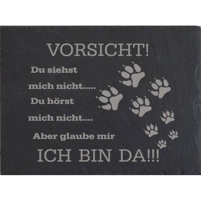 Hund Türschild Familie Schiefer Gravur Tier Eingangsschild Garten Tor schwarz grau Klingelschild Schild Warnschild Tier Bild 1