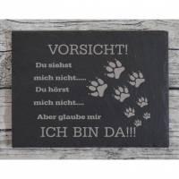 Hund Türschild Familie Schiefer Gravur Tier Eingangsschild Garten Tor schwarz grau Klingelschild Schild Warnschild Tier Bild 2
