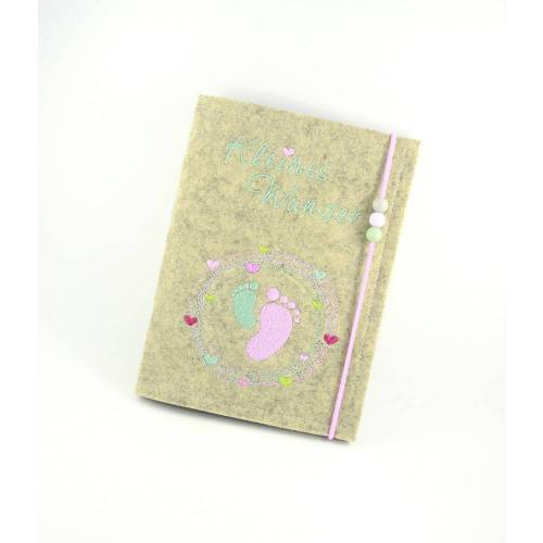 Mutterpasshülle • Baby Füße • Filz beige • Filz • Umschlag Mutterpass • Mutterpass • Mutterpass Hülle • Mamapass •Fuß • Neutral Rosa Türkis