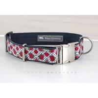 Hundehalsband, Hund, Rose, Punkte, weiß, rot, schwarz, Halsband, Hunde Haustier, silber, Dots, dunkelgrau, Leine, stylisch, modern Bild 1