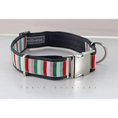 Hundehalsband, Hund, Halsband, Streifen, grün, weiß, rosa, rot, silber, Hunde, Welpe, modern, 30mm, Hundebesitzer, Hundeleine, grau