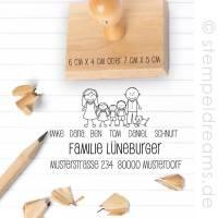 Familienstempel - Adressstempel  - Figuren - personalisiert - individualisiert - Holz - verschiedene Größen - Motiv: Familie Lüneburger 376 Bild 1