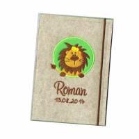 U Heft Hülle Kleiner Löwe Umschlag Filz -  braun grün Bild 1