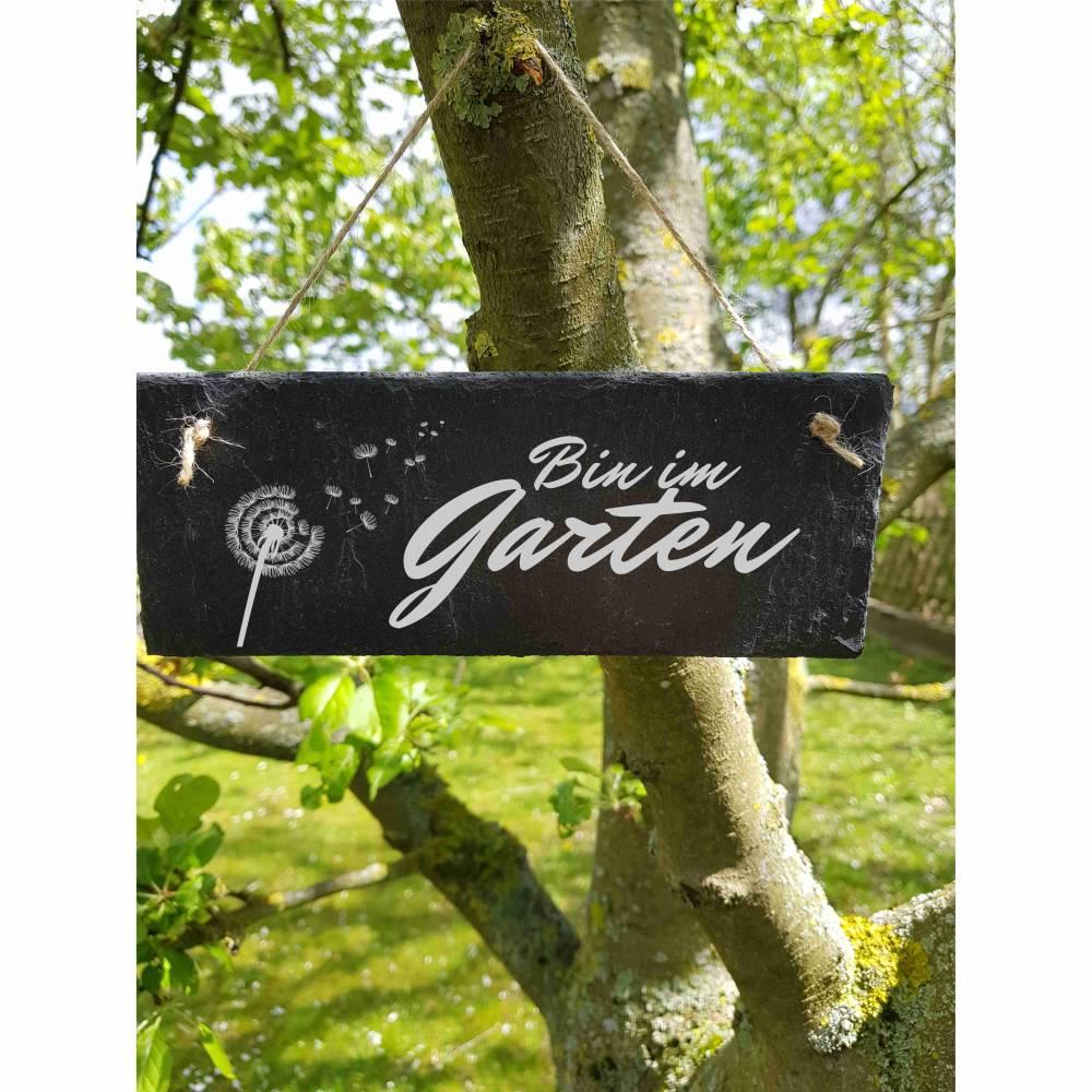 Bin im Garten Schiefertafel Schild  Schiefer Haustürschild Bild 1