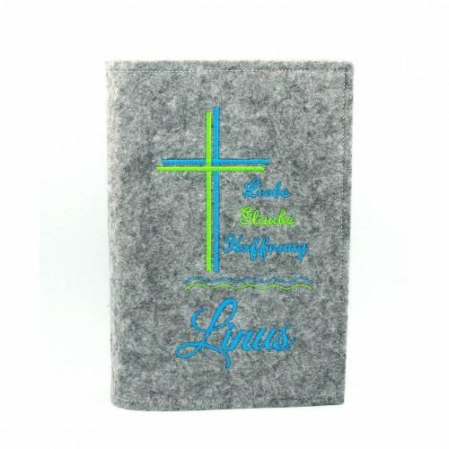 Gotteslob Hülle  Kreuz  Kommunion Liebe Glaube Hoffnung Filz mit Namen Umschlag