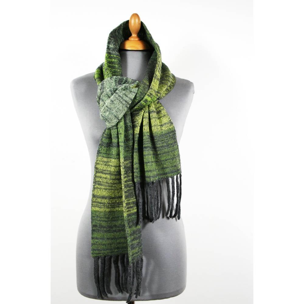 Winterschal für Männer in Grau und Grüntönen, Strickschal aus Wolle, Herrenschal Bild 1