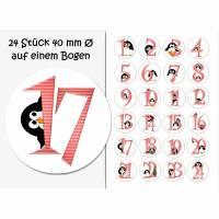 Selbstklebende Zahlen/Adventskalender, Adventskalenderzahlen, Pinguin rosa, Weihnachten Bild 1