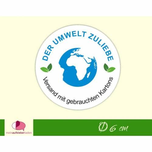 """Verpackungsaufkleber: Erde   """"Der Umwelt zuliebe - Versand mit gebrauchten Kartons"""" - runde Etiketten für Kartons"""