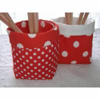 Stoff-Körbchen rot weiß gepunktet zwei Stück Bild 2