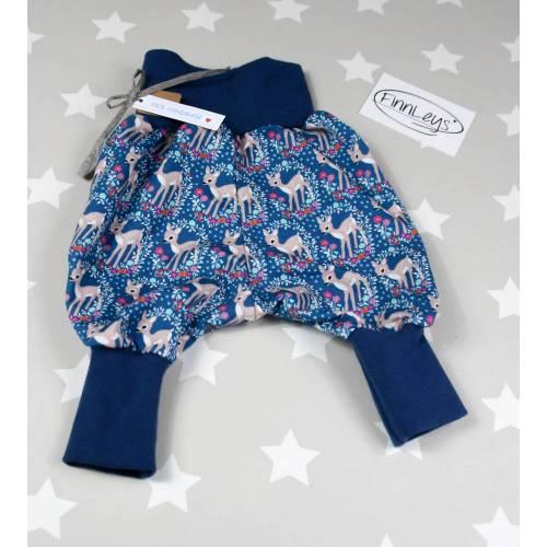 Newborn - Pumphose Baby - Gr. 50/56 - Mitwachshose Rehe Bambi blau pink Sweat