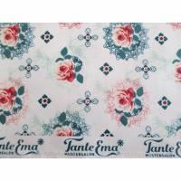 Reststück:1,00 x 1,37m Laminierte Baumwolle - Tante Ema - Spitzenrosen(1m/10,00€) Bild 1