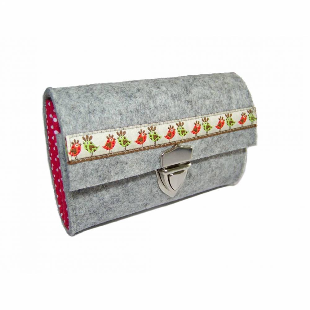 Portemonnaie Geldbörse Börse Geldbeutel aus Merino Wollfilz Filz Webband /Filzfarbe / Verschlussart auswählbar / Geschenk für Sie Bild 1