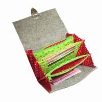 Portemonnaie Geldbörse Börse Geldbeutel aus Merino Wollfilz Filz Webband /Filzfarbe / Verschlussart auswählbar / Geschenk für Sie Bild 2
