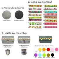 Portemonnaie Geldbörse Börse Geldbeutel aus Merino Wollfilz Filz Webband /Filzfarbe / Verschlussart auswählbar / Geschenk für Sie Bild 3