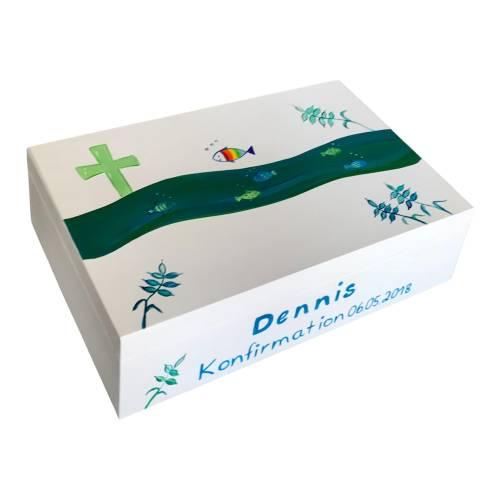 """Erinnerungskiste Erinnerungsbox """" Fische"""" Taufe Kommunion Konfirmation Geschenk"""