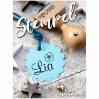Stempel - Kind Name - Seerose Blume  -Namensstempel personalisiert Bild 1