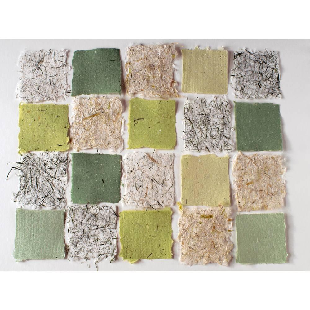 Handgeschöpftes Papier, ca. 9 cm x 9 cm, 20 Blatt Büttenpapier, Faserpapier, Collagepapier, Bastelpapier Bild 1