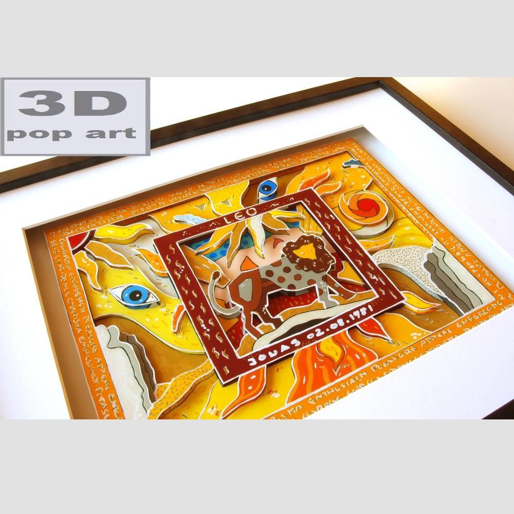 Löwe Sternzeichen personalisiertes geburtstagsgeschenk geschenk mit name geburtsdatum text 3D bild gerahmt pop art geburtstag spirituell Bild 1