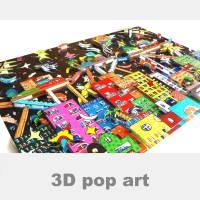 3D pop art stadt bunte häuser wand bild kunst color blocking fine art limited edition Bild 1