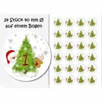 Selbstklebende Zahlen/Adventskalender, Adventskalenderzahlen, Weihnachtsmann und Rentier, Weihnachten Bild 1