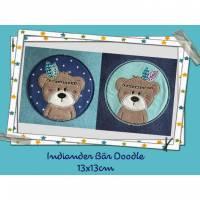 Stickdatei Bär,digitale Datei,Stickdatei Doodle Indiander Bär 13x13cm